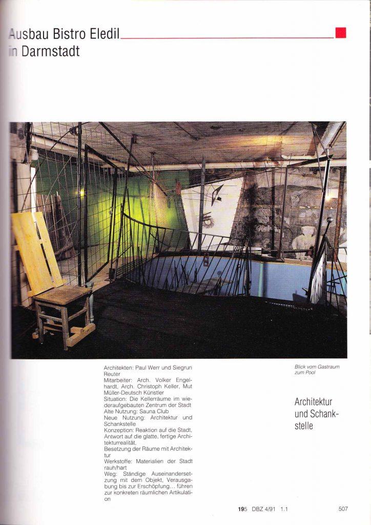 Deutsche Bauzeitschrift Nr. 4/1991: Der Ausbau des Bistro Eledil in Darmstadt (Seite 507)